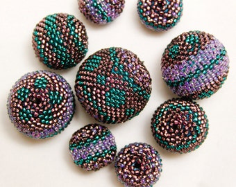 Beaded beads tutorial_bead weawing_recycled necklace_DIY jewelry_PDF pattern_step-by-step_do-it-yourself_DIY project_beading instructions