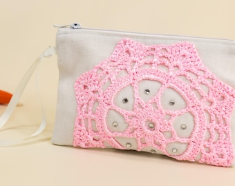 Ivory wedding purse Canvas clutch purse Pink doily clutch Crochet bridal bag Simple clutch Pink clutch purse Bridemaid bag Spring sale