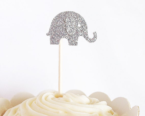 Silver Glitter Elephant Cupcake Toppers - First Birthday. Wedding. 1st Birthday. Cupcake Decorations. Bridal Shower. Birthday Party.