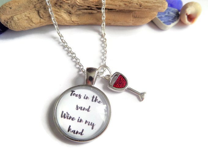 Beach necklace, beach jewelry gift, beach keyring, toes in sand, wine in hand, beach bangle, wine necklace, drink sea gift, sandykissesuk