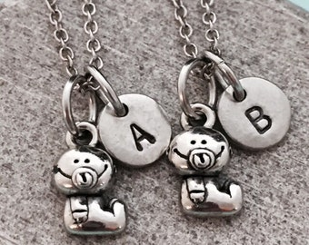 Best friend necklace, baby necklace, infant necklace, bff necklace, sister, friendship jewelry, personalized necklace, initial, monogram
