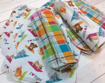 Yoga Animals -Flannel Wipes - Cloth diaper wipes - Reusable baby wipes- Family Cloth