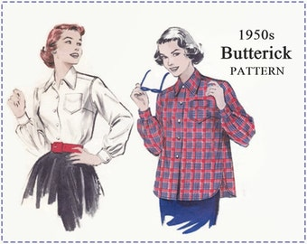 1950s Blouse Sewing Pattern - Vintage Butterick 6224 Sewing Pattern - Misses Tailored Shirt or Blouse, Yoked, Long Sleeves - Size 16 Bust 34