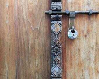 Carved Door Photography, Door-bolt, Door Lock Photography, Zanzibar Door, Architecture Photography, Fine Art Photography, Door Art Print