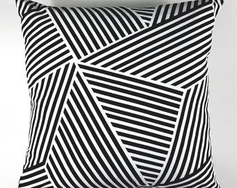 Black & White Angles Pillow Cover, Throw Pillow Cover, Accent Pillow Cover,