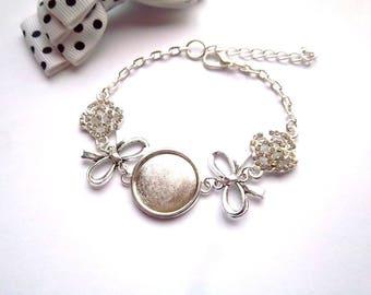 x bracelet holder silver cabochon 18 mm bow stylized flower set with Rhinestones