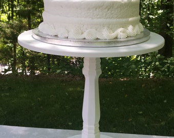 Cake Stand, Wood Cake Stand, Wedding Cake Stand, Round Cake Stand, White Cake Stand, Cupcake Stand, Shabby Chic Cake Stand, Grooms Cake
