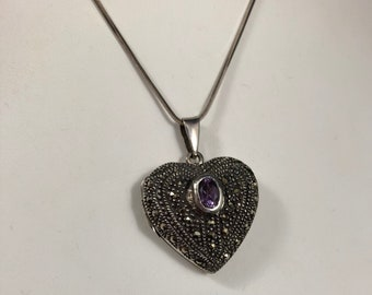 Vintage Sterling Silver Marcasite Amethyst Heart Shaped Locket Necklace