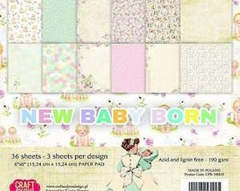 36 papers 15.2 x 15.2 cm CRAFT AND YOU NEW BORN BABY.