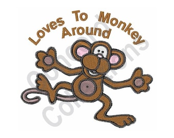 Loves To Monkey Around - Machine Embroidery Design, Monkey