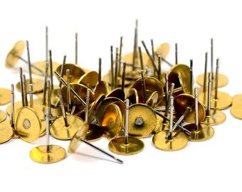 500 Pcs. Earring Lapel Findings 8 mm Glue Pad , Connectors