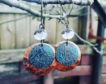 Copper,Brass And Rose Quartz Earrings