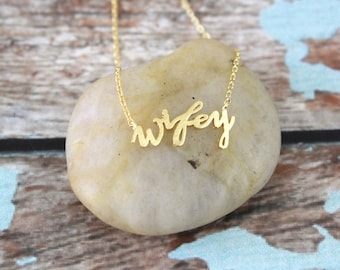 Gold Wifey Necklace, Wifey Charm Necklace, Bridal Gift, Wedding Necklace, Bridal Shower Gift-5029