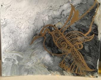 canvas acrylic with gold oil paint bird