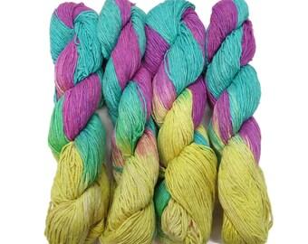 New! Premium Hand dyed  Silk Yarn,  Color: Turq./Purple/Lemon