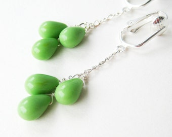 Spring Green Clip On Earrings, Dangle Silver Clipons, Light Green Teardrops, Handmade, Pistachio