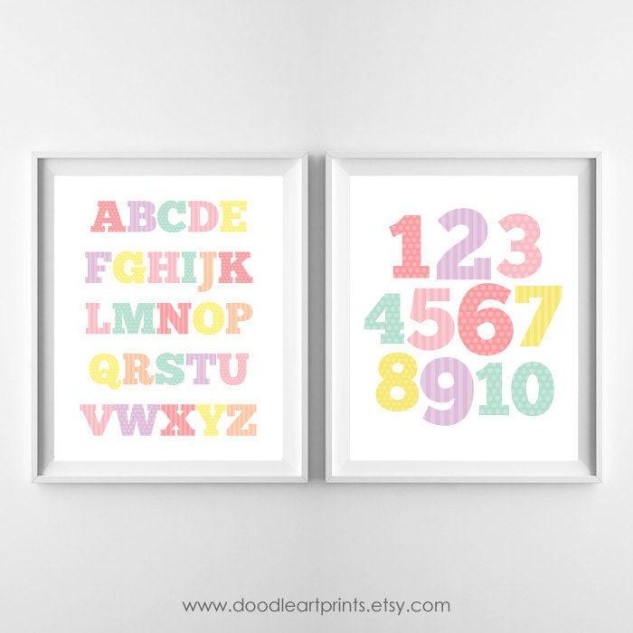 Alfabeto y números arte impresiones niña infantil decoración