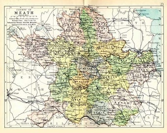 County Meath 1897 - Antique Irish Map of Meath - 8 x 10 ins PRINT - FREE P&P UK