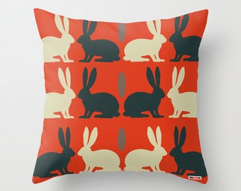 Accent pillow - decorative throw -Decorative pillow cover - Rabbits pillow - Kids pillow cover - Modern bedding - Cushion - Children