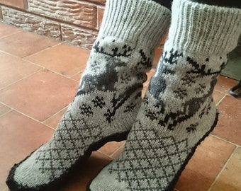 Knitted Socks-Slippers. 100% wool. Sutured with genuine leather.