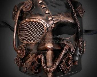 Bauta Men's Masquerade Steampunk Mask, Masquerade Mask for Men, Steampunk Accessories - Bronze