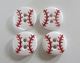 Baseball Buttons ~ Set of 4 or 6