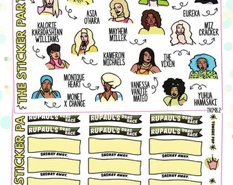RuPaul's Drag Race SEASON 10 TV Show Planner Sticker Kit RPDR Planner Stickers