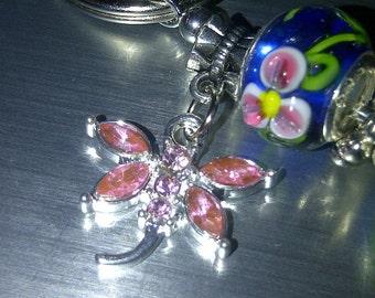 Pink Crystal Dragonfly Key Ring