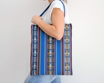 Tote bag, stripes, ethnic tote bag, ethnic pattern, blue bag, aguayo bag, ethnic fabric, south america, bolivia craft, peru craft, etnic