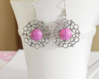 Hot pink and silver dangling earrings