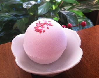 Cherry Pink Bath Bomb with Heart Sprinkles - Valentine's Day Aromatherapy Gift