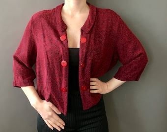 50s Italian Trip Top - 1950s 1960s Vintage Red Burgundy Top - Red Black Open Jacket - Large Oversized Buttons - Boxy Shape - Medium Sleeves