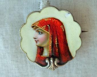 Antique Enamel Miniature Portrait Chatelaine Brooch Pin St Fabiola Watch Pin Saint Religious Collectible Jewelry