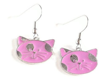 Pink Cat Charm Earrings are the perfect fashion accessory for any jewelry and kitty cat lover in your world