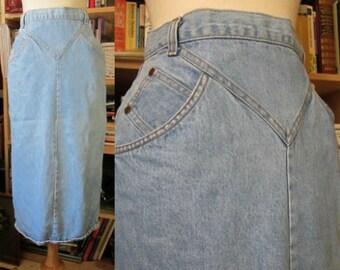 VTG 80's light blue denim maxi skirt bodycon grunge city wear chevron pockets