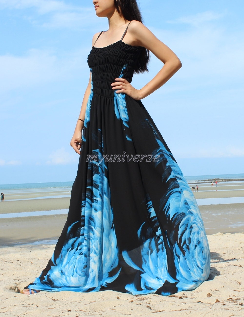 Maxi Dress Wedding Gown Black Bridesmaid Dress Prom Summer