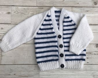 Baby cardigan, baby sweater, hand knitted baby cardigan, hand knitted baby sweater, white and blue coloured baby cardigan, 0-3 months