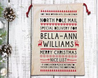 Christmas sack, christmas bag, christmas stocking, personalised sack, personalised stocking, sack, christmas, canvas sack, first Christmas