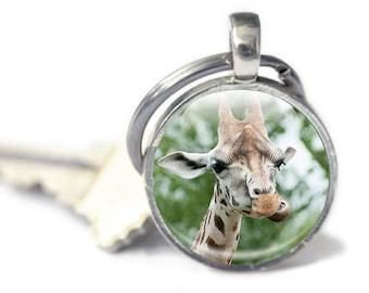 Giraffe Keychain - Giraffe photo Key chain - Giraffe Picture Keyring - Giraffe Gift (GK2)