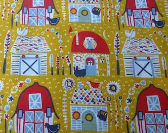 1/2 Yard Organic Cotton Fabric - Birch Fabrics Folkland - Folkland Barns