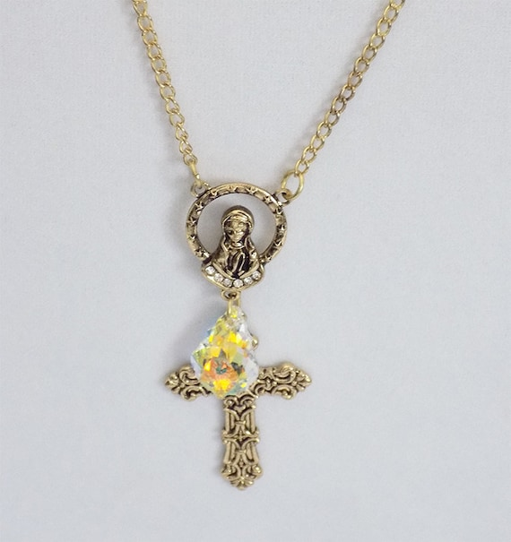 handmade gold tone cross crystal necklace
