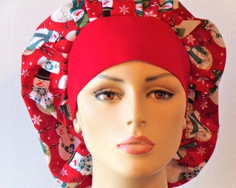 Holiday Bouffant Scrub Hat Snowmen All Over With a Red Headband Made in the USA