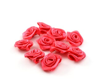 10 small 15 mm coral satin flowers