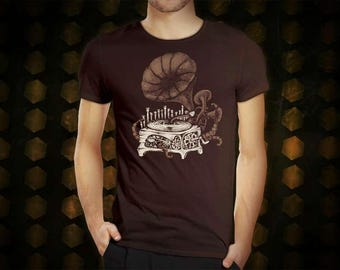Steampunk Gramophone dark brown t shirt for men, screen printed men's short sleeve tee shirt, Size S, M, L, XL, XXL