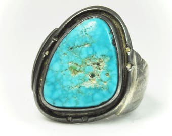 Beautiful Sterling Silver Turquoise Triangular Ring 27mm Size 8 Handcrafted