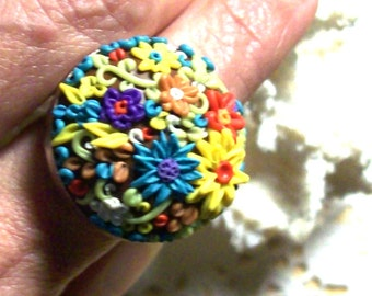 Rainbow Flower Patch 1 Inch Bezel Ring - OOAK Hand Sculpted Miniature Flower Ring
