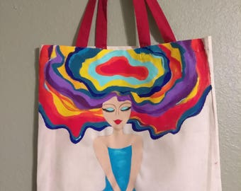 Colorful Hand Painted Canvas Bag