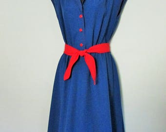 Vintage 1970s Blue Cotton Day Dress