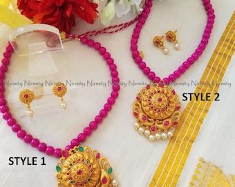 Temple jewelry-imitation jewelry-pink beads-indian jewelry-metal jewelry-thread jewelry-dori necklace-fashion jewelry-bahubali jewelry