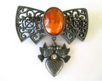 Filigree Bow Pin * Dangle Heart And Love Birds * Orange Center Stone * Old Fashioned Look